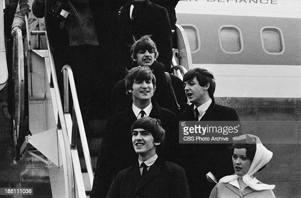 The Beatles arrive at John F Kennedy International Airport February 7 1964 At top is Ringo Starr middle row is John Lennon and Paul McCartney lower...