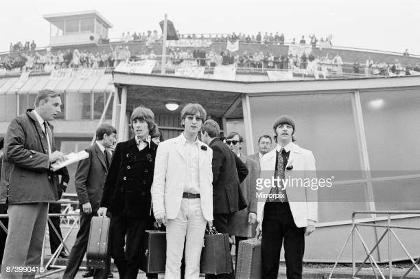 The Beatles arriving at London Heathrow Airport after their last ever concert tour of America 31st August 1966