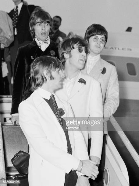 The Beatles arriving at London Heathrow Airport after their last ever concert tour of America, 31st August 1966.