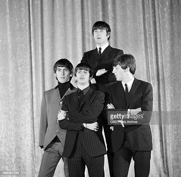The Beatles at a photo shoot the day before their first appearance on THE ED SULLIVAN SHOW From left George Harrison Ringo Starr John Lennon Paul...