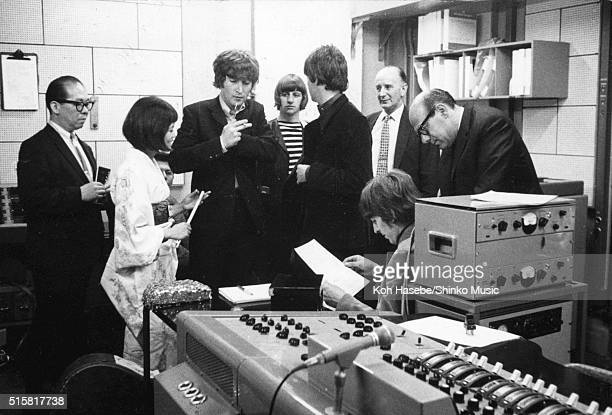 The Beatles at EMI Studios Abbey Road London during the recording session for 'It's Only Love' June 15 1965 Line up includes John Lennon Paul...