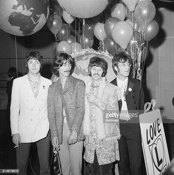 Paul George Ringo John at EMI Studios No 1 Studio London the day before their worldwide TV broadcast 'Our World'
