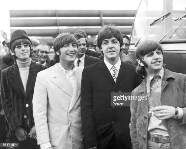The Beatles at London Airport en route to Germany and afterwards Japan 23rd June 1966 From left to right George John Paul and Ringo