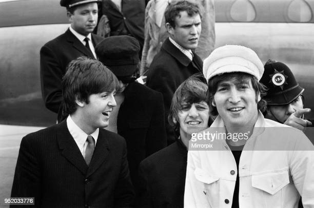 The Beatles at London Heathrow Airport The Beatles returned home after a successful european tour of France Italy finally Spain Paul McCartney Ringo...