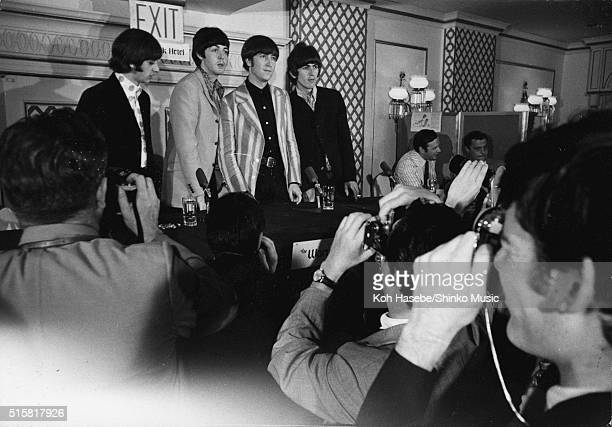 The Beatles at press conference at Warwick Hotel, New York City, August 22, 1966. L-R Ringo Starr, Paul McCartney, John Lennon, George Harrison, with...