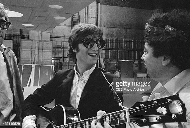 The Beatles at rehearsal for their final performance on The Ed Sullivan Show, August 14th, 1965; John Lennon joking with Marty Allen.