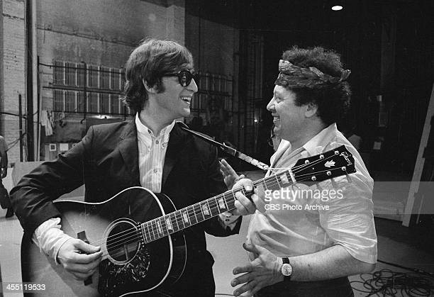 The Beatles at rehearsal for their final performance on THE ED SULLIVAN SHOW. Image dated August 14, 1965. Shown is John Lennon joking with Marty...