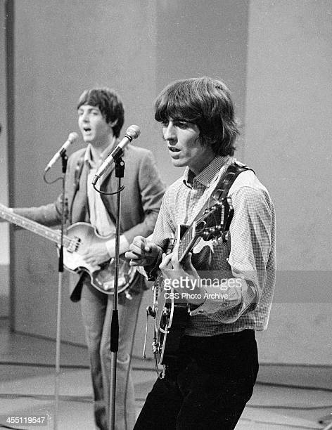 The Beatles at rehearsal for their final performance on THE ED SULLIVAN SHOW. Image dated August 14, 1965. Shown is Paul McCartney and George...