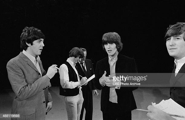 The Beatles at rehearsal for their final performance on THE ED SULLIVAN SHOW. Image dated August 14, 1965. Shown from left: Paul McCartney, Ringo...