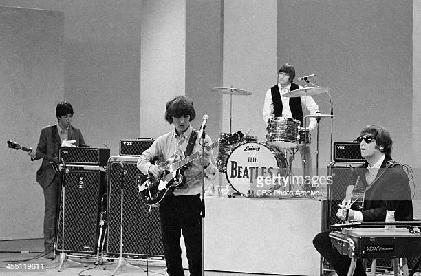 The Beatles at rehearsal for their final performance on THE ED SULLIVAN SHOW. Image dated August 14, 1965. Shown from left: Paul McCartney, George...