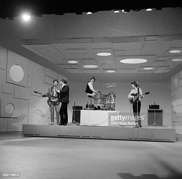 The Beatles at rehearsal for their final performance on THE ED SULLIVAN SHOW. Image dated August 14, 1965. From left: Paul McCartney, John Lennon,...