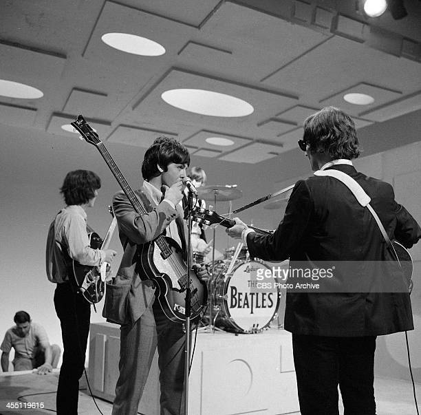 The Beatles at rehearsal for their final performance on THE ED SULLIVAN SHOW. Image dated August 14, 1965. From left: George Harrison, Paul...