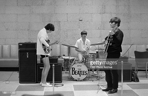 The Beatles at rehearsal in the Deauville Hotel Miami Beach Florida for THE ED SULLIVAN SHOW From left George Harrison Ringo Starr and John Lennon...