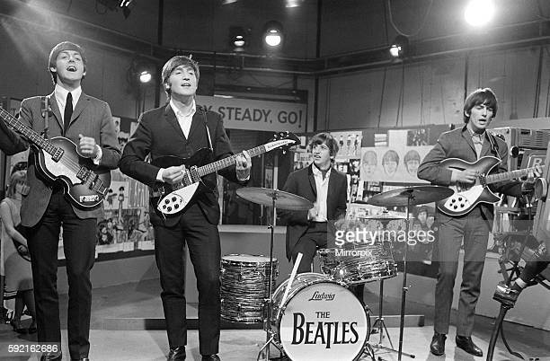 The Beatles at Television House Kingsway for an appearance on the television Show Ready Steady Go Left to right Paul McCartney John Lennon Ringo...