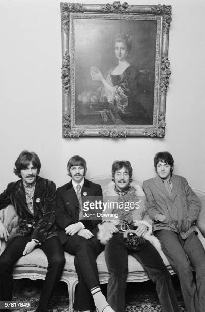 The Beatles at the press launch for their new album 'Sergeant Pepper's Lonely Hearts Club Band', held at Brian Epstein's house at 24 Chapel Street,...