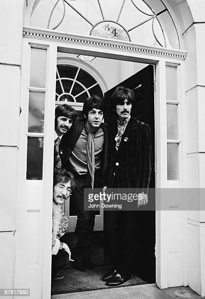 The Beatles at their manager Brian Epstein's house at 24 Chapel Street London for the press launch of their new album 'Sergeant Pepper's Lonely...