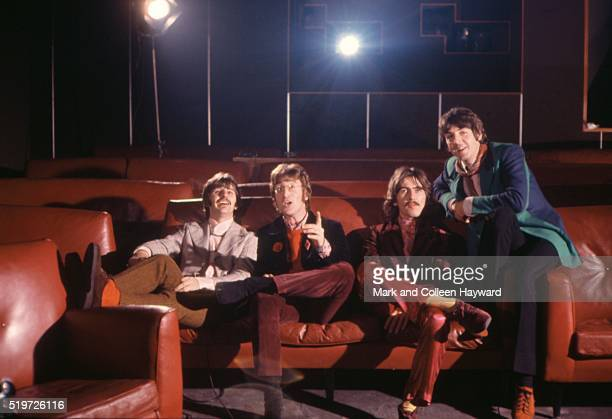 The Beatles at TVC animation Studios in London, 6th November 1967, L-R Ringo Starr, John Lennon, George Harrison, Paul McCartney. They were taking...
