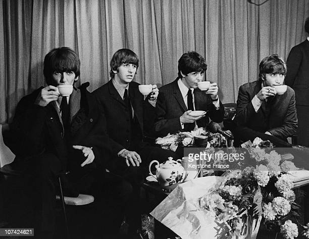The Beatles Back From Their Australian Tour Tea Time At London In England On July 2Nd 1964