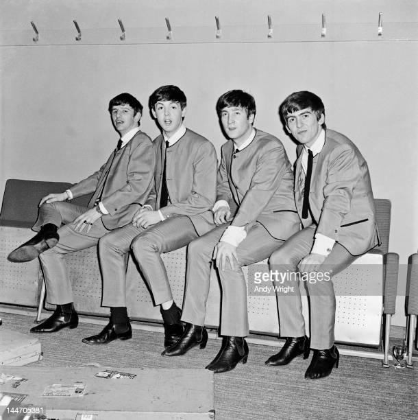 The Beatles backstage at Fairfield Halls, Croydon, 25th April 1963. Left to right: Ringo Starr, Paul McCartney, John Lennon and George Harrison. The...