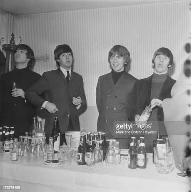 The Beatles backstage at the Odeon Cinema Leeds 22nd October 1964 Left to right John Lennon Paul McCartney George Harrison and Ringo Starr