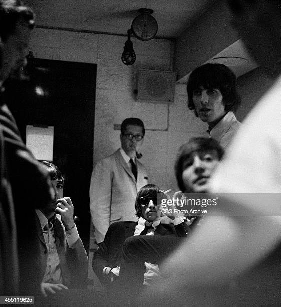 The Beatles backstage before their final performance on THE ED SULLIVAN SHOW. Paul McCartney, Ringo Starr and John Lennon and George Harrison. Image...