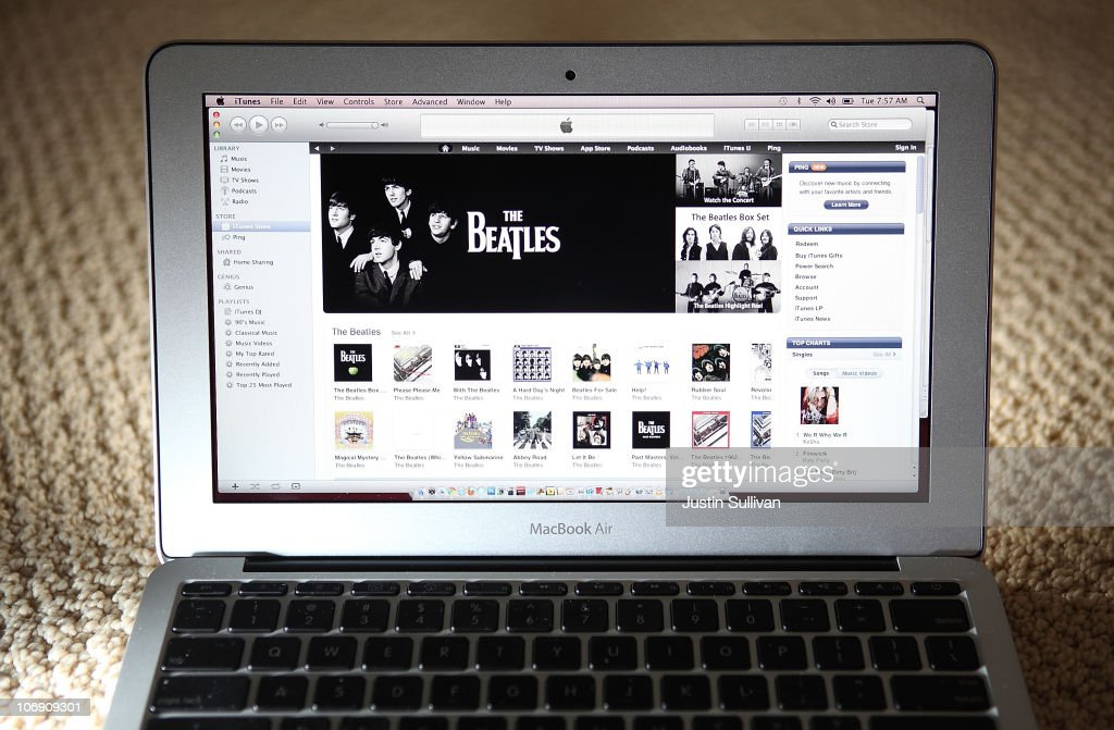 The Beatles catalog is displayed on Apple's iTunes on November 16, 2010 in San Anselmo, California. Apple has struck a deal with the record label EMI and the Beatles' company Apple Corps to sell digital downloads of the legendary rock band's music on iTunes.