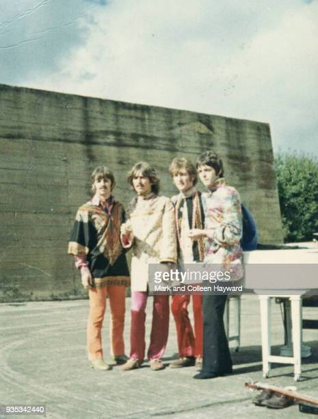 The Beatles during filming for surreal comedy television film 'Magical Mystery Tour' West Malling Air Station in Maidstone Kent United Kingdom 23rd...