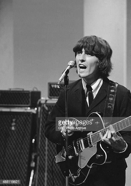 The Beatles during their final performance on THE ED SULLIVAN SHOW. Image dated August 14, 1965. Shown is George Harrison.