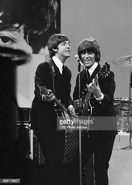 The Beatles during their final performance on THE ED SULLIVAN SHOW. Image dated August 14, 1965. Shown from left: Paul McCartney, George Harrison.
