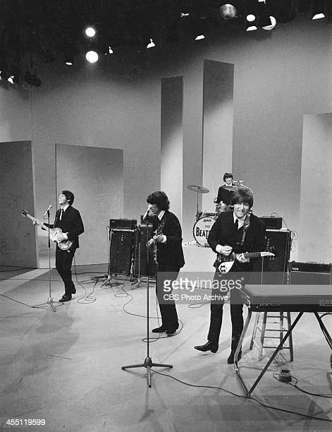 The Beatles during their final performance on THE ED SULLIVAN SHOW. Image dated August 14, 1965. Shown from left: Paul McCartney, George Harrison,...