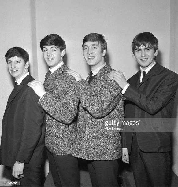 The Beatles early group portrait Ringo Starr Paul McCartney John Lennon George Harrison posed backstage circa 1962