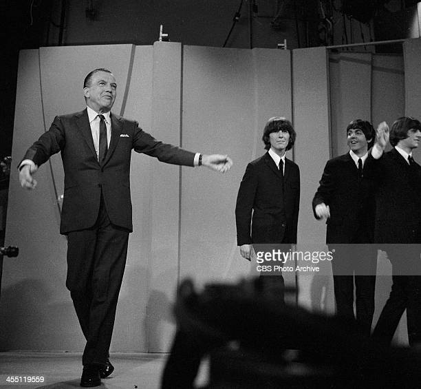 The Beatles final performance on THE ED SULLIVAN SHOW. Image dated August 14, 1965. Ed Sullivan is shown here with George Harrison, Paul McCartney,...