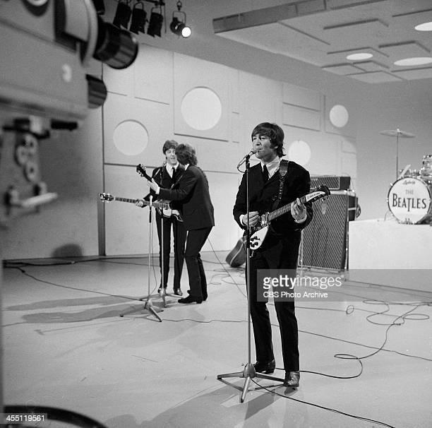 The Beatles final performance on THE ED SULLIVAN SHOW. Image dated August 14, 1965. From left: Paul McCartney, George Harrison, John Lennon.