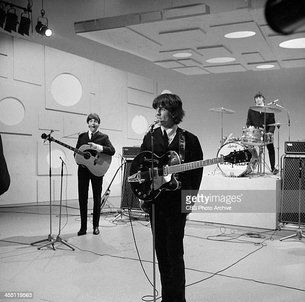 The Beatles final performance on THE ED SULLIVAN SHOW. Image dated August 14, 1965. From left: Paul McCartney, George Harrison, Ringo Starr.
