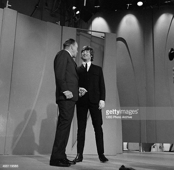The Beatles final performance on THE ED SULLIVAN SHOW. Image dated August 14, 1965. Ed Sullivan is shown here with John Lennon.