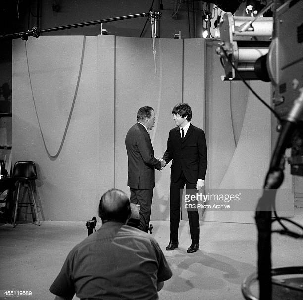 The Beatles final performance on THE ED SULLIVAN SHOW. Image dated August 14, 1965. Ed Sullivan is shown here with Paul McCartney.
