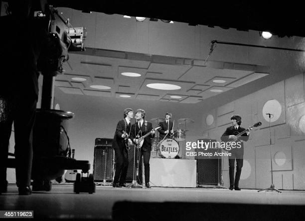 The Beatles final performance on THE ED SULLIVAN SHOW. Image dated August 14, 1965. From left: Paul McCartney, George Harrison, Ringo Starr, John...