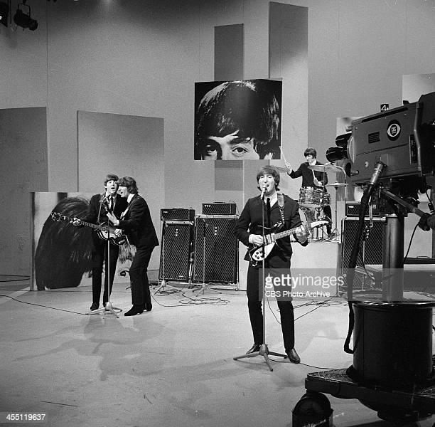 The Beatles final performance on THE ED SULLIVAN SHOW. Image dated August 14, 1965. From left: Paul McCartney, George Harrison, John Lennon, Ringo...