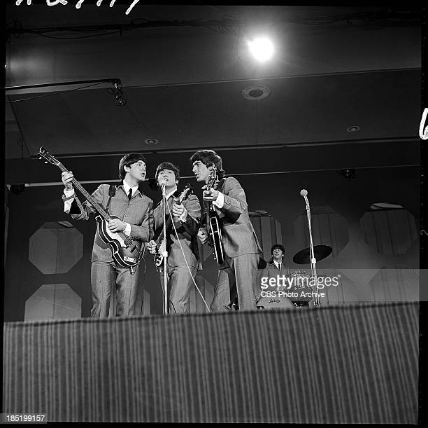 The Beatles from left Paul McCartney John Lennon George Harrison and Ringo Starr in performance during their second appearance on THE ED SULLIVAN...