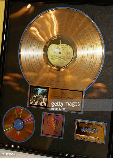 The Beatles gold record award for 'Abbey Road' is displayed during the Fest for Beatles Fans 2007 at The Mirage Hotel Casino July 1 2007 in Las Vegas...