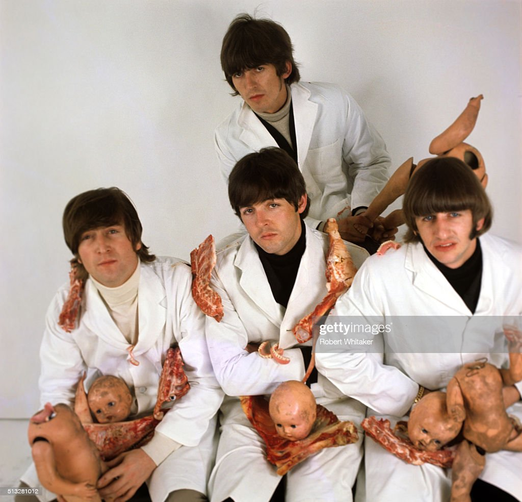 The Beatles in an outtake from the cover session for the 'Yesterday & Today' album, Vale Studios, Chelsea, London, 25th March 1966. Clockwise from top: George Harrison, Ringo Starr, Paul McCartney, John Lennon. The 'butcher cover' provoked many complaints and was quickly withdrawn by the record company.