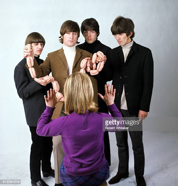 The Beatles in an outtake from the cover session for the 'Yesterday Today' album Vale Studios Chelsea London 25th March 1966 LR Ringo Starr John...
