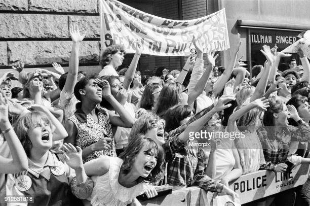 The Beatles in New York City on their North American Tour ahead of their concert to be held at Forest Hills Cheering fans gathered outside the...