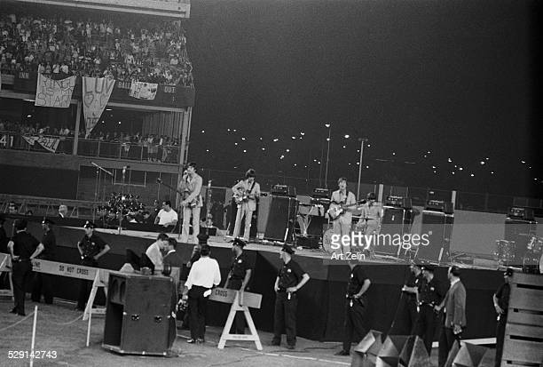 The Beatles in performance at Shea Stadium August 1965 New York