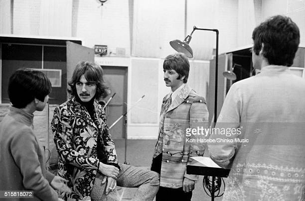 The Beatles in the studio during the recording session for the song Â'The Fool On The HillÂ' at EMI Studios Abbey Road London September 25 1967 LR...