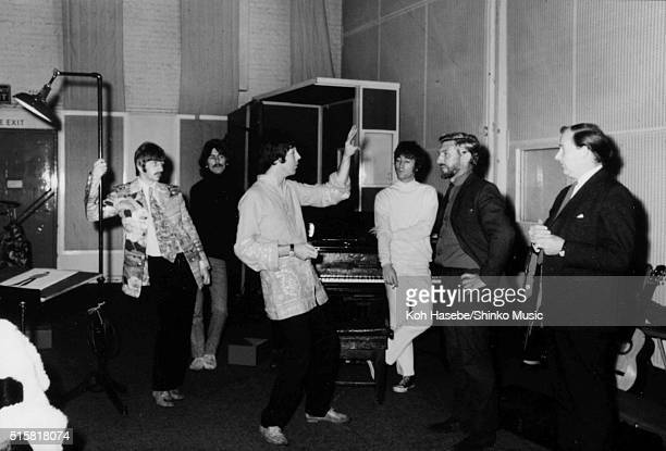 The Beatles in the studio during the recording session for the song Â'The Fool On The HillÂ' at EMI Studios Abbey Road London September 25 1967 Ringo...