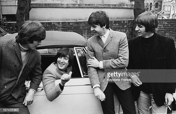 The Beatles John Lennon In A Car After His Driving Test On February 16Th 1965