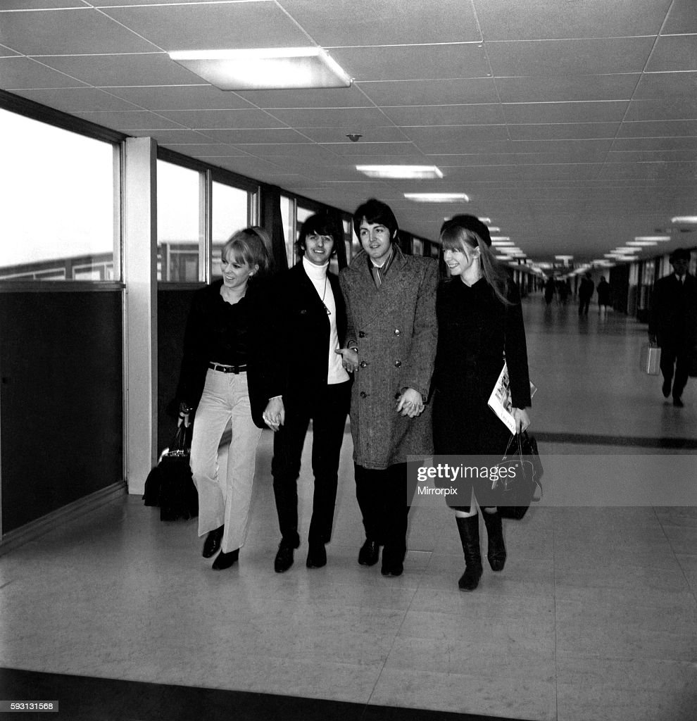 The Beatles leaving Heathrow Airport for India where they will meet Maharishi Mahesh Yogi on a meditation trip. Ringo Starr with his wife Maureen on the left, with Paul McCartney and his girlfriend Jane Asher February 1968 Y01696-001