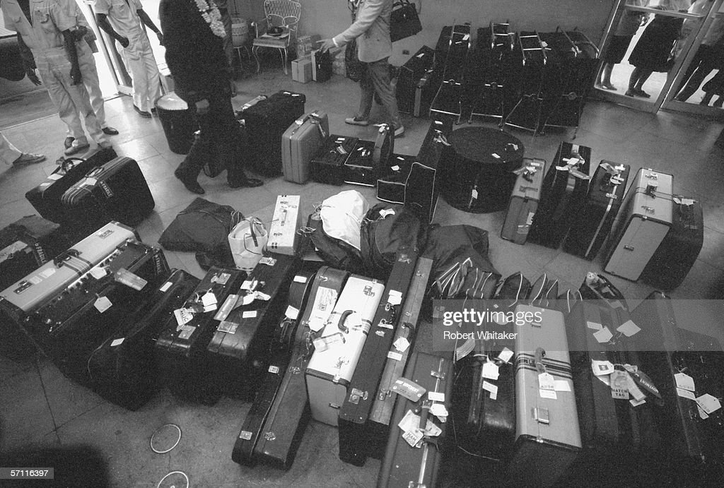 The Beatles' luggage sits in the departure lounge of Manila airport during the band's Asian tour, 5th July 1966.