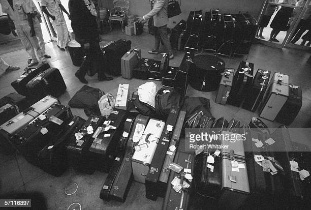 The Beatles' luggage sits in the departure lounge of Manila airport during the band's Asian tour 5th July 1966